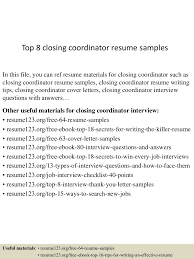 Closing Coordinator Resume Sample top60closingcoordinatorresumesamples6050560322060060lva60app66092thumbnail60jpgcb=60603605560937 2