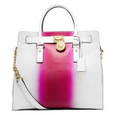 michael kors soft satchel north south large convertible tote in fuchsia hot pink and white image