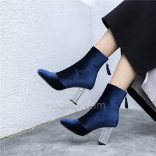 booties leather 2018 suede shoes for women chunky heel navy blue boots
