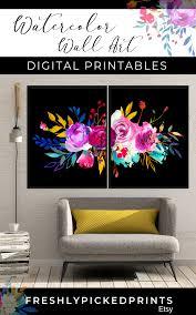Shamburger Design Studio Downloadable Art Bright Watercolor Floral Decor Set Of 2