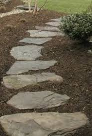 Rock Pathway with bark surrounding it More