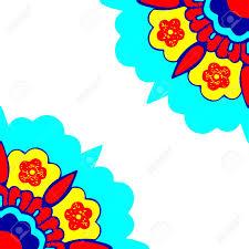 Sier Hoeken Bloemen Silhouet Patroon Kleurrijke Hoek Bloemen
