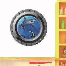 3d Wall Art 3d Submarine Wall Stickers For Bathrooms Washing Machine