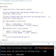 C Program To Calculate Profit Or Loss