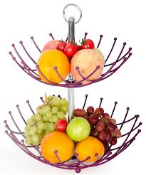 fruit basket stand by luxe premium purple 2 tier fresh veggie holder iron
