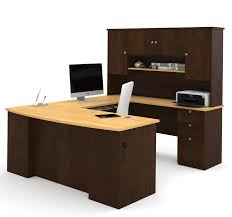 u shaped office desks. Modren Office Manhattan Collection Ushaped Desk In Chocolate U0026 Maple With Hutch Included To U Shaped Office Desks