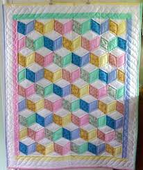 33 best Amish Baby and Infant Quilts images on Pinterest | Around ... & Tumbling Blocks - what an appropriate pattern for a baby quilt! Adamdwight.com