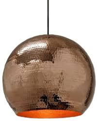 copper globe pendant light in polished