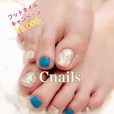 夏フットシンプルラメシェル Cnailsのネイルデザインno4366952