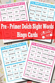 dolch primer pre primer sight words bingo cards itsy bitsy fun