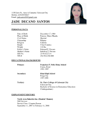resume model for job example of simple resume sample for jobs template free templates