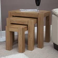 Solid Oak Living Room Furniture Sets Pemberton Solid Oak Furniture Nest Of Three Coffee Tables