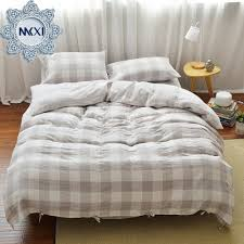 mkxi geometric pattern beige grey grid plaid modern bedding sets soft duvet comforter cover king size with 2 pillow covers