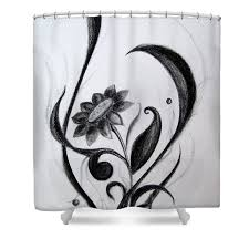 Artistic shower curtains Whimsical Black Flowers Abstract Charcoal Art Shower Curtain For Sale By Prajakta Pixels Black Flowers Abstract Charcoal Art Shower Curtain For Sale By