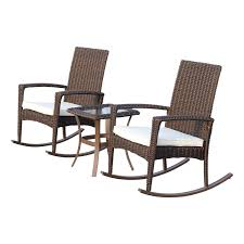 outsunny 3 pcs rattan rocking chair set brown