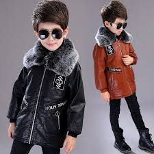 4 13t boys faux leather jackets children coat for autumn winter 2018 new fashion plus velvet thick long warm leather outerwear winter jacket for toddler
