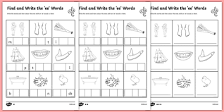 Ee and ea circle and fill worksheets : Find And Write The Ee Words Differentiated Worksheet Pack