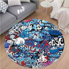 nalahome modern flannel microfiber non slip machine washable round area rug ecor teenager style