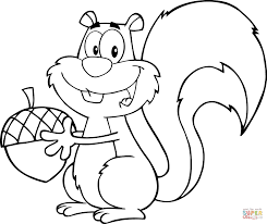 Cartoon Squirrel Holding An Acorn Coloring Page Free Printable