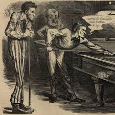 Jefferson Davis Vs Abraham Lincoln Chart Abraham Lincoln Political Cartoon 1863 Playing Pool Billiards Jefferson Davis Ebay
