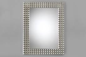 Modern Rectangular Mirror Silver Wood Frame Luxury Decor  Dixie Furniture