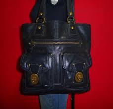 COACH Large Black Leather  GIGI  Legacy Vachetta Turnlock Shopper Tote  Purse Bag