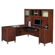 office furniture l shaped desk hutch teak wood brown finished frosted glass door bestar computer with