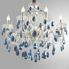 luxurious silver finished blue crystal chandelier 8 light 18 inside blue crystal chandelier