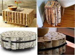 creative ideas for home furniture. Summer Decorating Ideas -balcony-birch-logs-tables Creative For Home Furniture N