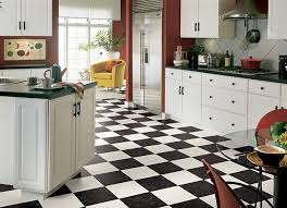 Black And White Checkered #vinyl Floor That Looks Like #tile For #kitchen  Design