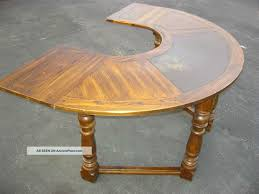 vtg jacobean gothic revival half round writing desk drop leaf spanish table post 1950 photo