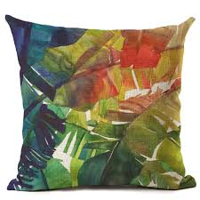 Small Picture Exotic Tropical Plant Leave Flowers Pillow Case Cushion Cover Sofa