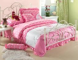 polka dots bedding set white and pink polka dot girls princess lace ruffled embroidered pink polka polka dots bedding
