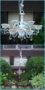 recycled old chandelier bird feeder