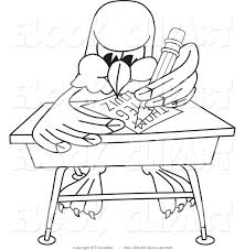 student desk clipart black and white. vector clip art of a coloring page bald eagle hawk or falcon student sitting desk clipart black and white r