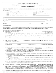 Residential Lease Contract Residential Lease Contract Template Pdfsimpli