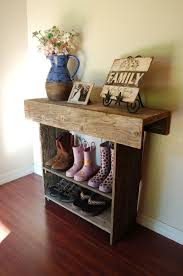 shoe storage furniture for entryway. entryway shoe storage furniture using rustic hallway table from reclaimed wood planks also wrought iron picture for o