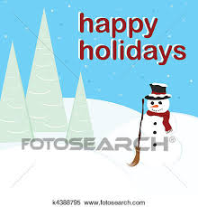 Holidays Snowman Clipart Of Happy Holidays Snowman K4388795 Search Clip Art
