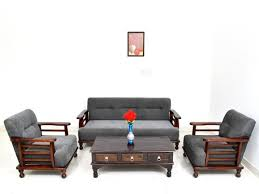 brown contemporary sheesham wood sofa