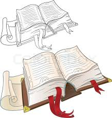 êíèãàepsopen book old thick volume with bookmarks of red tape version of the textbook and outline drawing in color stock vector colourbox