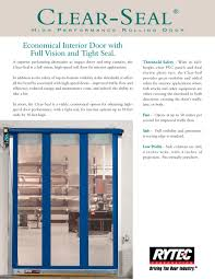 Clear-Seal : Full vision rolling door - Rytec Corporation - PDF ...