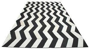 yerra herringbone cowhide rug black white yerra