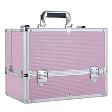 funime large make up box nail polish jewellery cosmetic box beauty vanity case pink