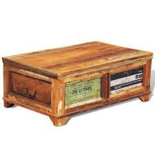 Anself <b>Reclaimed</b> Wood Coffee Table Storage Box <b>Vintage Antique</b> ...