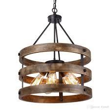 Rustic Wood Light Fixtures Metal And Circular Wood Chandelier Pendant Lamp Five Lights Black Finishing Retro Vintage Industrial Rustic Ceiling Lamp Light Fixtures Hanging Light