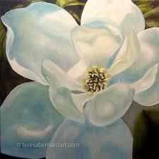 magnolia blossom close up painting
