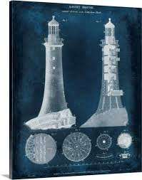 lighthouse blueprint wall art canvas