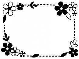 白黒の小花と葉っぱの点線フレーム飾り枠イラスト 無料イラスト