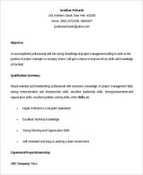 Entry Level Management Resume Examples Project Manager Resume Sample 9 Examples In Word Pdf