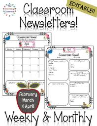 February Newsletter Template Classroom Newsletter Templates Editable Feb April